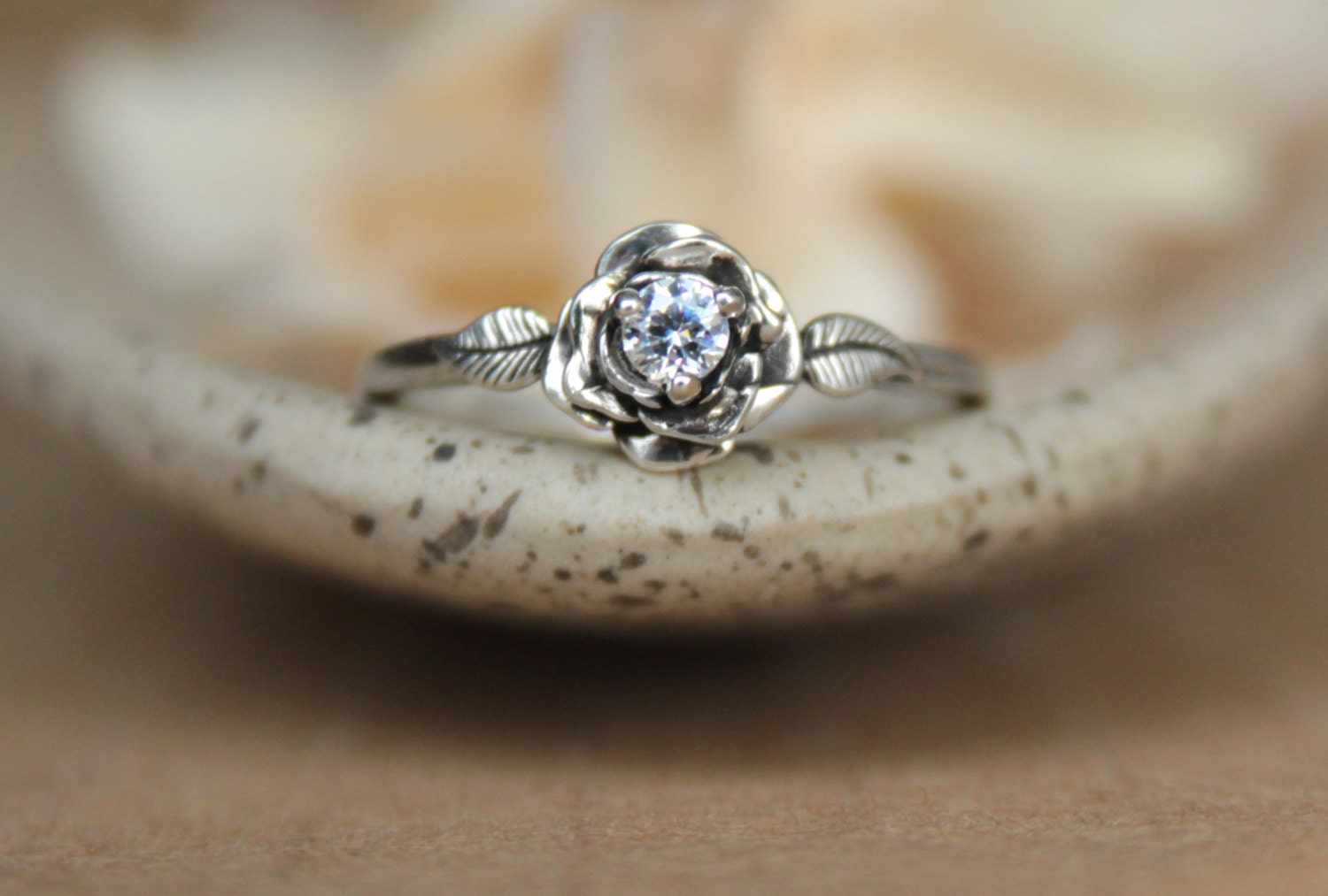 delicate rose engagement ring with white alternative wedding rings zoom