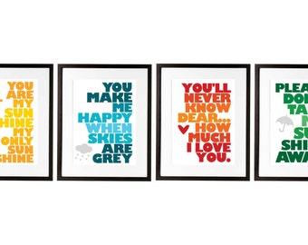 You are my sunshine, Set of Four 8x10 prints, Yellow, Blue, Red/Orange, Green