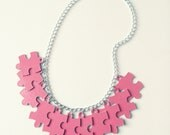 Upcycled Pink Jigsaw Puzzle Pieces Necklace, Charm Necklace, Eco Fashion, Multicoloured Jewellery, Bold Necklace, Original Jewellery