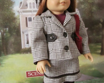 Tailored Suit, Skirt Suit, Knit Sweater, Bucket Hat,  18 inch Doll clothes