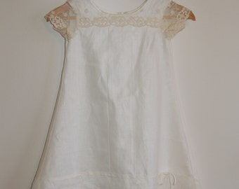 Ivory Linen and Lace Dress - Custom Sizes for Girls