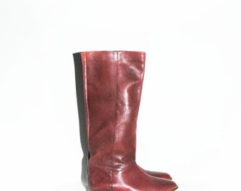 Vintage Knee Hight Flat Boot , Burgundy Leather Tall Boot sz.6