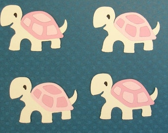 4 Pink Baby Turtle Die Cut Embellishments for Scrapbooking Cards and Paper Crafts Animal Zoo Pet Girl Free Post Australia