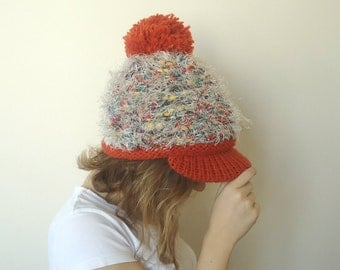 HAND KNİTTED Orange brimmed hat,slouchy beanie with pompom