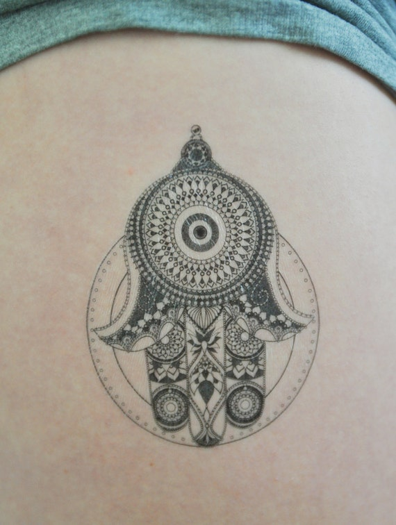 hamsa hand temporary tattoo hand of fatima illustration. Black Bedroom Furniture Sets. Home Design Ideas