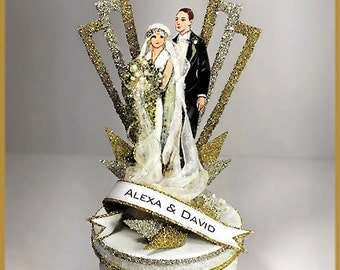 "1920's ""Art Deco"" Great Gatsby Wedding Cake Topper, Keepsake Box"