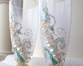 Beach wedding toasting flutes, starfish wedding glasses in mint, ivory and cream, destination wedding idea, bridal shower gift