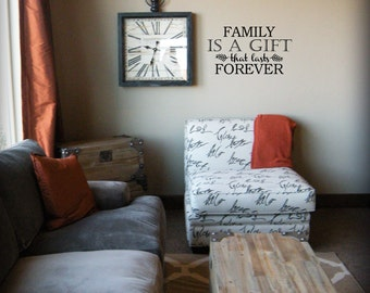 Family is a gift that lasts forever BC343 vinyl lettering family quote wall decal sticker mural wall lettering stickers