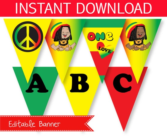 reggae one love party banner Editable Instant Download – Jamaican Party Invitations
