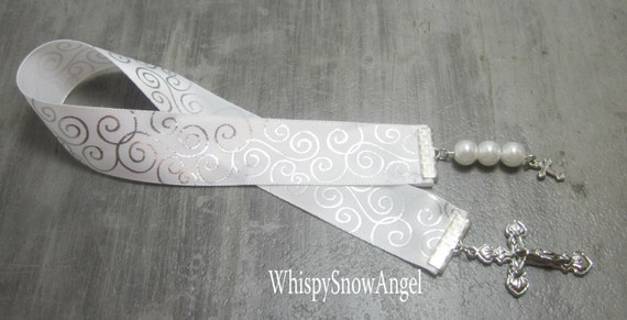 Christian Ribbon Bookmark, Silver Scrolled, Silver Cross, Confirmation Gift, Baptism Ribbon, White Glass Pearls