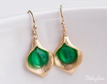 Green Onyx Earrings - Birthstone Earrings - Calla Lily Earrings - Gold Earrings - Nature Inspired Jewelry