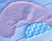 Boppy Pillow Cover- Nursing Pillow Cover- Aqua and White Chevron and Pale Pink Minky Boppy Cover