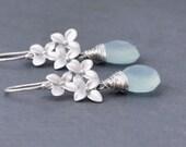 Silver Hydrangea Flower Earrings, Aqua Chalcedony, Sterling SilverHoops, Wedding Jewelry