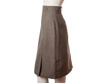 Vintage striped brown pencil skirt with front slit -- vintage preppy style -- size medium or small