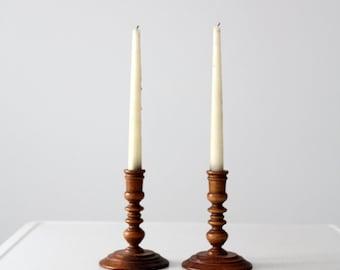 vintage wood candle holders, turned wood candlesticks