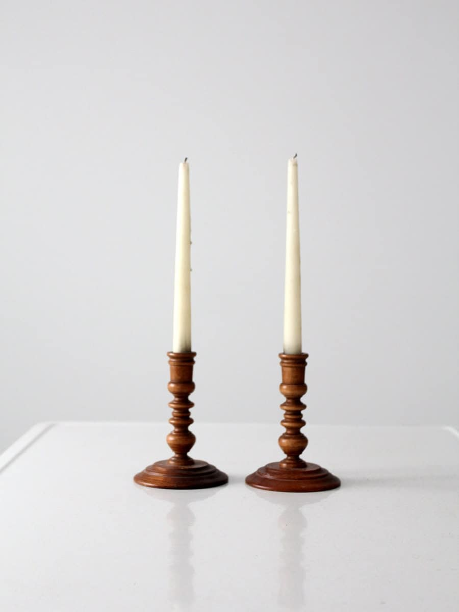 Vintage Wood Candle Holders Turned Wood Candlesticks