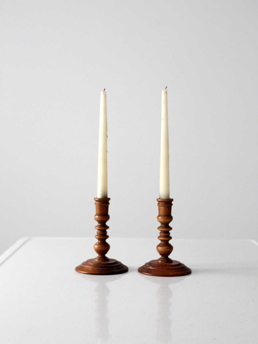 Vintage wood candle holders turned wood candlesticks Wood candle holders