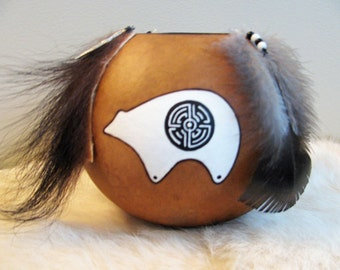 Spirit Bear Vessel , Spirit Bear Gourd Vessel , White Bear , Black And White Gourd Bowl , Turkey Feathers , Bear Art , Animal Totem ,
