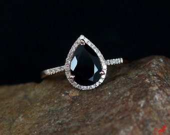 Black Spinel & Diamond Pear Halo Engagement Ring 2.5ct 10x7mm 14k-18k White, Yellow, Rose gold-Platinum-Custom made size-Wedding-Anniversary