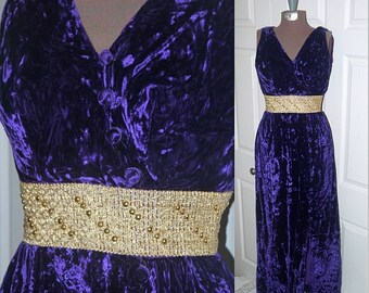 Mid Century Madame .. vintage 60s formal gown maxi dress / 1960s long cocktail party holiday / Purple velvet / atomic mod mad men .. XXS XS
