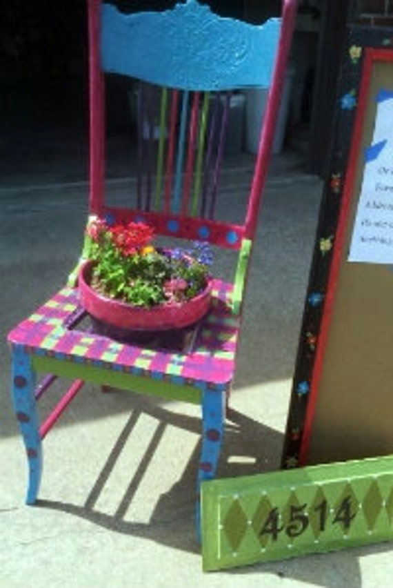 Items similar to garden chair planter chair planter garden for Funky garden accessories
