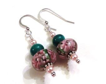 Pink & Green Floral Lampwork Earrings With Pink Swarovski Pearls, Pink Earrings, Green Earrings, Pearl Earrings, Lampwork Jewelry