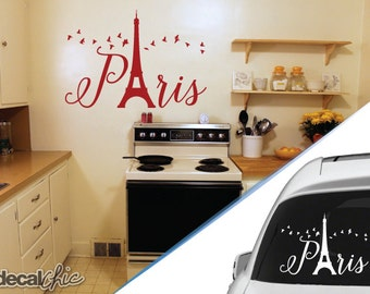 FREE SHIPPING Paris Eiffel Tower w/ Birds Flying Wall Decal or Car Decal ~ Custom Size and Color