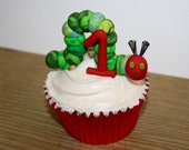 The Very Hungry Caterpillar with 1 - Clay Birthday Cupcake Topper