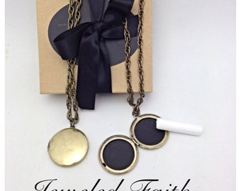 Chalkboard Locket in Vintage Brass