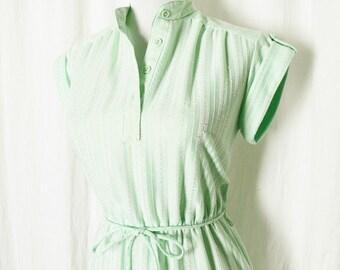 Vintage 70s Striped Green Dress XS S Belted Cap Sleeve Epaulets Knee Length