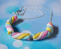 Marshmallow Necklace ( food necklace polymer clay jewelry pink necklace blue necklace cute gift for girl food jewellery food miniature )