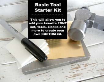 Metal Stamping Basic STARTER TOOL Kit -  Create Your Own Metal Jewelry Hand Stamping Kit with These Basic Tools - Free Mixed Metal Blanks