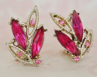 Vintage Clip-On Earrings in Silver with Pink Rhinestones