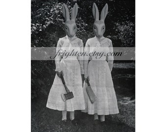 Collage Art Print, Creepy Twin Rabbits, Altered Vintage Photography Print, Halloween Party Decor, Black and White
