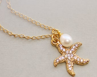 Golden Paved Starfish & Pearl Necklace,Gold Starfish Rhinestone Charm Necklace,Genuine Pearl Drop,Bridesmaids Jewelry,Bridesmaids Gift,Beach