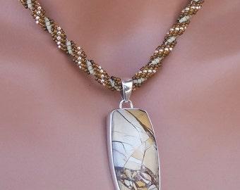 Brecciated Mookaite Pendant on Bead-Woven Cord - Seed Bead Necklace - OOAK - Rustic Earthy Stone - Australian Jasper - 16 Inch