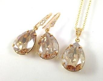 Golden Shadow Jewelry Set - Champagne Gold Swarovski Crystal Teardrop Wedding Bridal Bridesmaids Necklace Earrings Valentine Gift