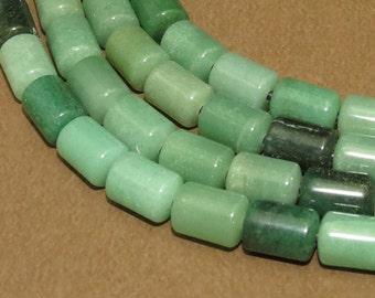 Green Aventurine - LARGE HOLE beads - 10x14mm Barrel Beads - 8 inch strand - 2.5mm Hole