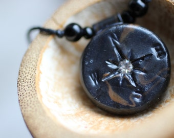 Black Compass Necklace, Travel Pendant, Compass Rose, Must Travel, Adjustable, Unisex