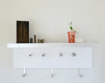 COAT RACK SHELF: Modern Wall Mount Coat and Key Hooks with Shelf for Entry  Organization