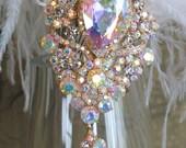 Flapper 1920s handmade wedding dress hair piece veil headband wedding comb gold silver ostrich feather