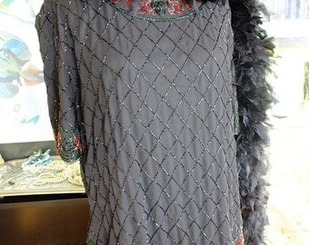 Black beaded plus sz flapper dress great gatsby wedding