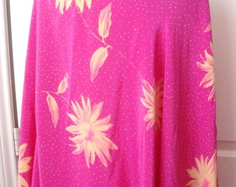"Couture SILK Floral Fashion Fabric, France, Fuschia Pink 3yds+22"" 44""W Designer"