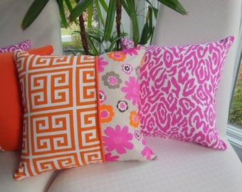 Bright Pink Leopard Pillow - Girls Bedroom Pillow - Raspberry Animal Print - Hot Pink Accent Pillow - Insert Included - 15 x 15 Inch