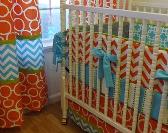 Crib Bedding- Baby Bedding- Boy BeddingMADE TO ORDER--Baby Bedding -- 3 pc Boy Crib Bedding Set