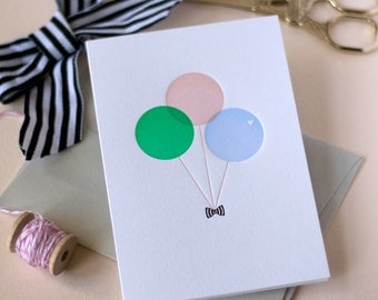 Birthday / New baby / Just Because / Balloon Letterpress Card