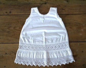 French antique baby girl white lace A- line summer dress