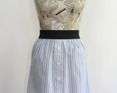 Blue and White Striped Upcycled Cotton Skirt with Elasitc Waistband, size Small