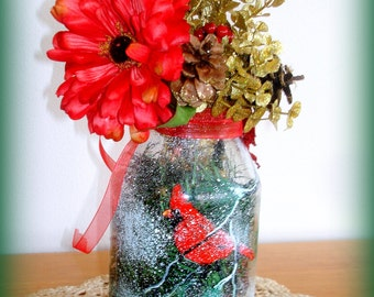 Winter Decorated Mason Jar REDUCED PRICE  Hand Painted Red Cardinal Falling Snow Winter Season Decor Gift Useable all Winter