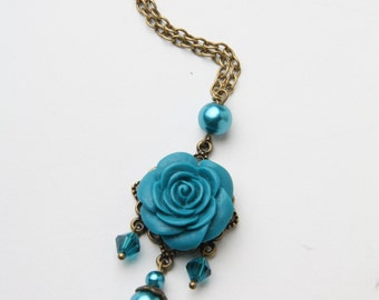 Rose necklace, blue rose necklace, rose jewelry, teal blue, flower necklace, blue necklace, blue jewelry, long necklace, made in Canada